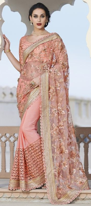 186683 Pink and Majenta  color family Bridal Wedding Sarees in Faux Chiffon, Net fabric with Border, Bugle Beads, Machine Embroidery work   with matching unstitched blouse.