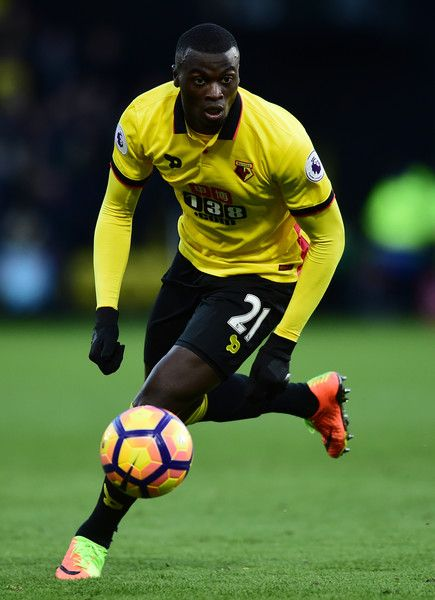 M'Baye Niang of Watford in action during the Premier League match between Watford and Burnley at Vicarage Road on February 4, 2017 in Watford, England.