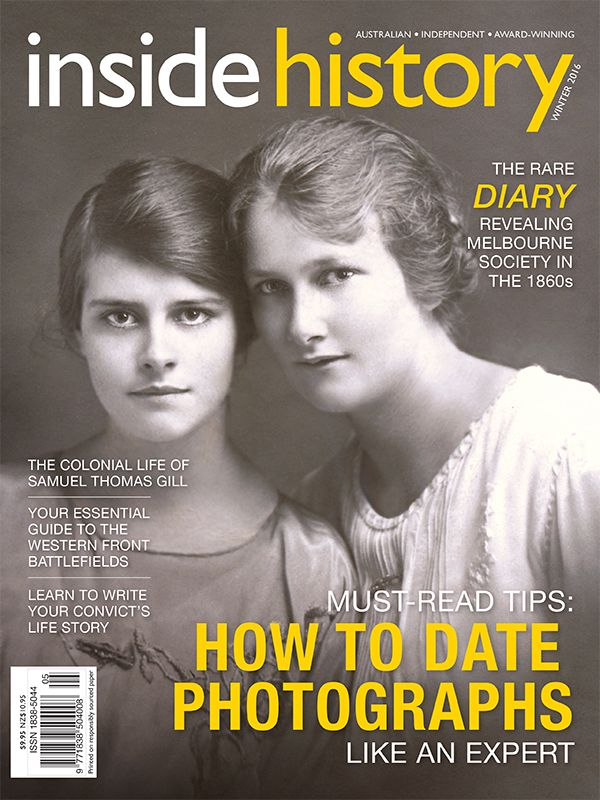 - Expert photo-dating tips  - Colonial Australian artist ST Gill - 130+ new family history resources online - How to write your ancestor's life story - The Anzac pilgrimage: practical tips + insights for visiting the battlefields - Melbourne's surprise link to the American  Civil War - Australia's war in the Pacific, in the skies and on the seas - An iconic WWI film and its mysterious real-life rescuers whose identity still puzzles historians - SA's Irish heritage unearthed