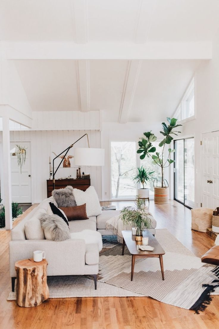 Living room modern sofa retro coffee table and floor lamp plants area rugs white and bright room white painted walls paint interior design design