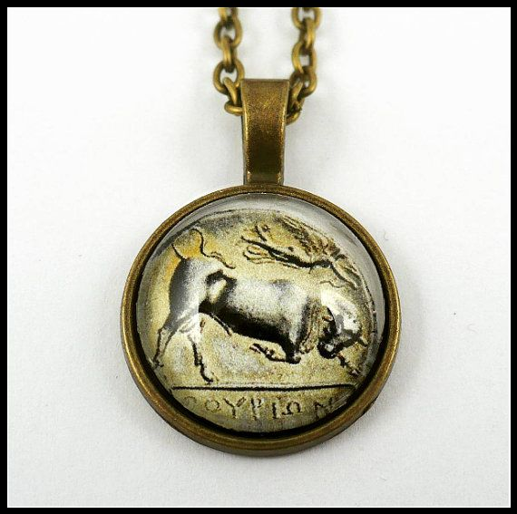 #ArtPassionBijoux by Sara, #italian #handmade #jewelry inspired by #art - #Ancient #coin medallion: #Greece, Thurium, South Italy #history, #bull #Taurus #archaeology