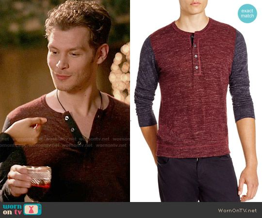 Klaus's red and navy henley tee on The Originals.  Outfit Details: http://wornontv.net/54945/ #TheOriginals
