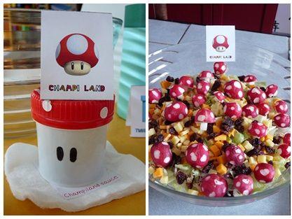 repas anniversaire enfant mario kart : salade aux radis champignons