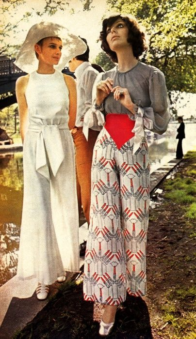 1970s Trouser suits #retro #vintage vintage fashion style color photo print ad model magazine 70s pants pantsuit white print red grey