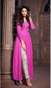 Ravishing Pink Faux Georgette Party Wear Dresses