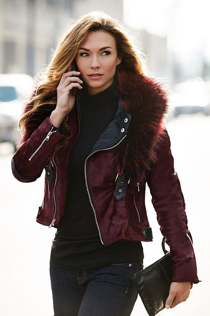 The Andromeda Calfskin Fur Leather Jacket is a work of art that gives you two styles in one showpiece moto jacket.
