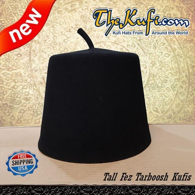 040efe5e6 Tall Black Taraboosh 100% Australian Wool Fez Hat #thekufi #kufihat ...
