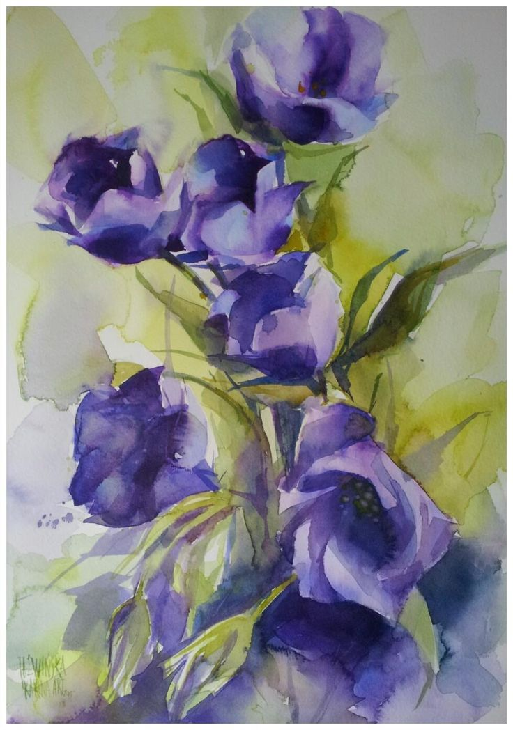 Karina Jaźwińska/ Watercolor/ Eustoma/ 40x28 cm/ Saunders 300g/ QoR