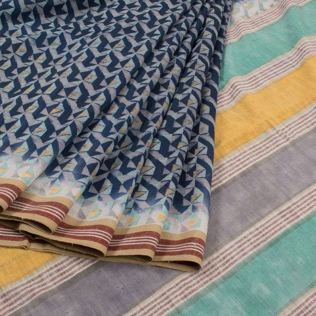 Buy online Hand Block Printed Blue Malkha Cotton Saree Without Blouse 10013727