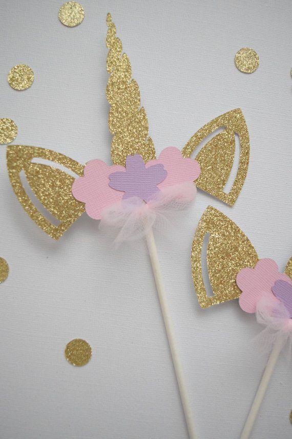 Unicorn Party Decor Gold Unicorn Wands Gold Glitter Party Favors