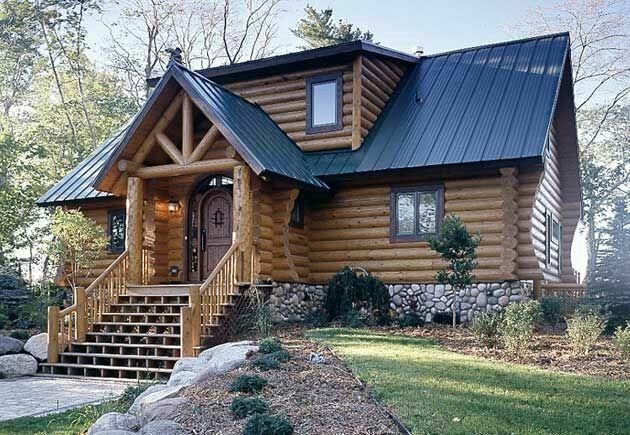 Black metal roof Log cabin exterior, Log homes exterior