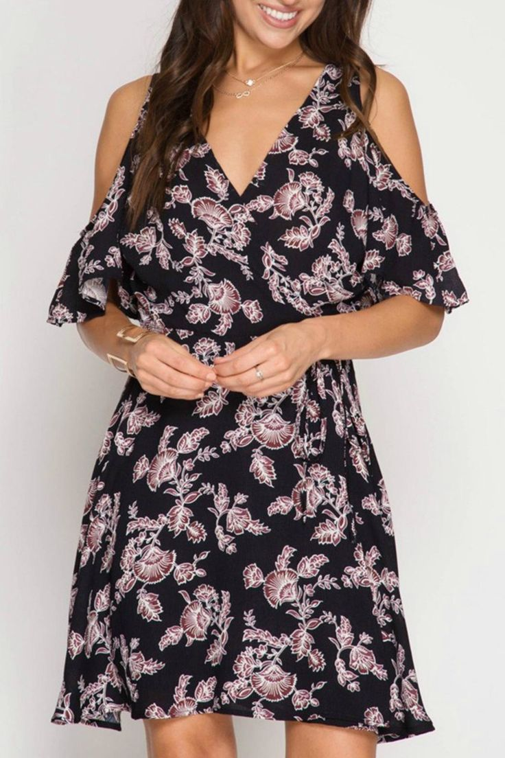 Cold-shoulder wrap dress with flutter sleeves. Maroon floral on black swing dress. V-neck neckline with a thicker strap.   Floral Wrap Dress by She + Sky. Clothing - Dresses - Wrap Dress California