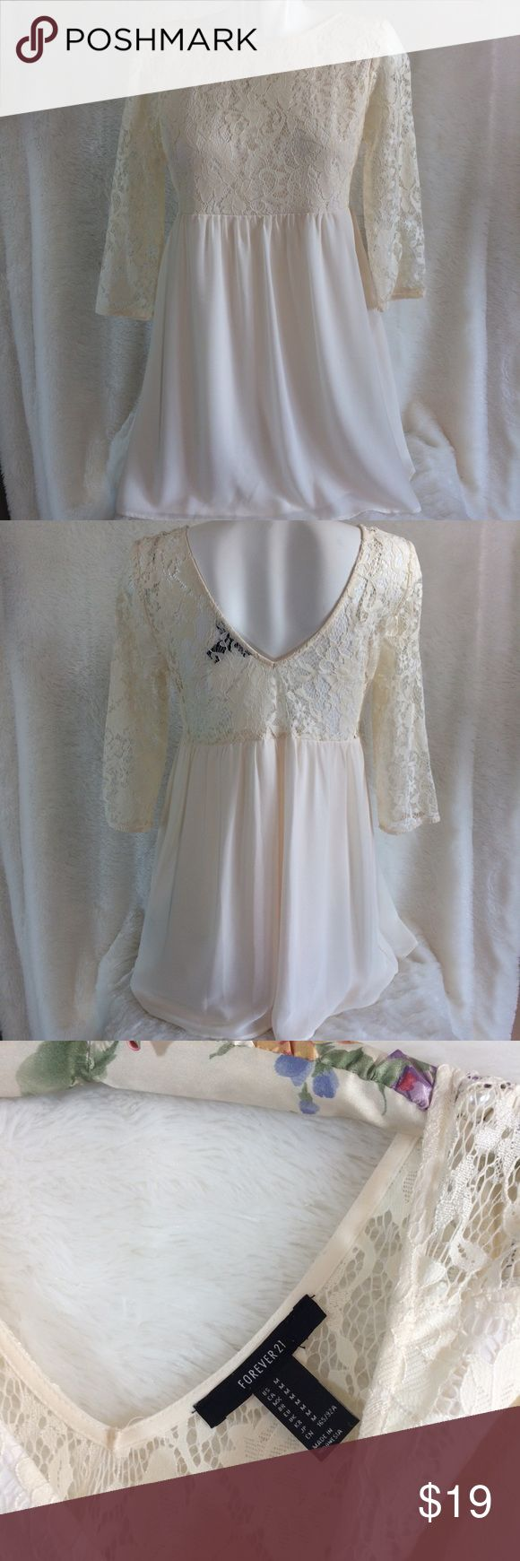 Forever 21 OffWhite Ivory Floral Lace Fest Dress M Pre-Owned, EXCELLENT CONDITION! NO FLAWS! VERY LIGHTLY USED! Forever 21 Brand, Off-White/Ivory Colored, Floral Lace Pattern, Festive/Holiday/Special Occasion, Sheer/Stretch Material, Women's Dress, Size Medium. SHIPPED SAME DAY, OR NEXT DAY SHIPPING! Bundle Two or More Items and Save 20%! :) Forever 21 Dresses Midi