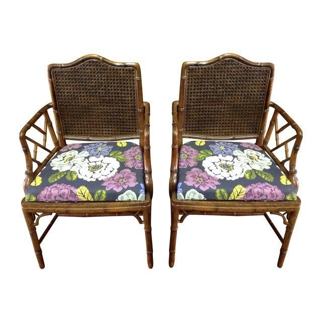 Image Of Faux Bamboo And Cane Chippendale Arm Chairs For