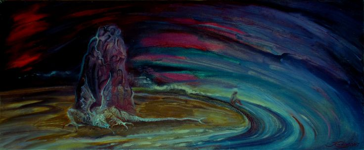 Kadis, 2007 | Холст, масло, 25 х 60 см, без багета | Мифология фэнтези абстракция | Дракон охраняет нечто на берегу океана