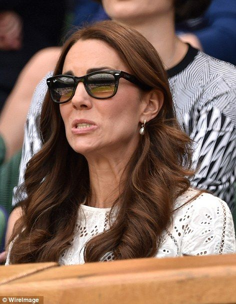 The Duchess of Cambridge watching Andy Murray today in the quarter finals at Wimbledon. 2 July 2014