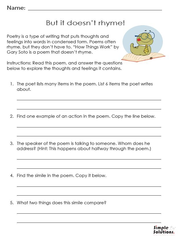 "In honor of World Poetry Day and National Poetry Month, the Simple Solutions team has created an activity to help your students explore the poem, ""How Things Work"" by Gary Soto."