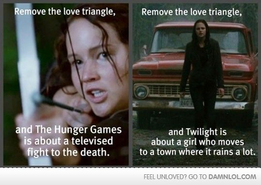 Well... Seeing as the hunger games really IS about a televised fight to the death and not really about a love triangle at all....