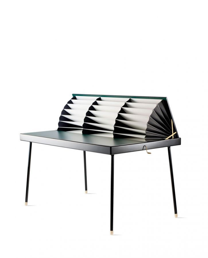 Interesting....Homework Table by Nika Zupanc: opens to reveal hidden folds. Made of wood, brass and paper.