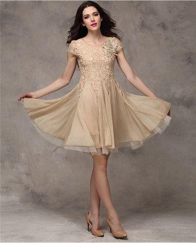 Elegant Mini Short Sleeve O-Neck Lace Stitching Chiffon Dress - 3 Colors