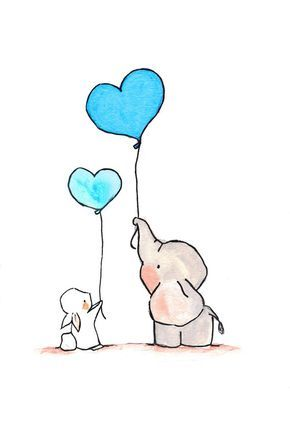 Flying Hearts, Turquoise.  Nursery elephant bunny art print decor