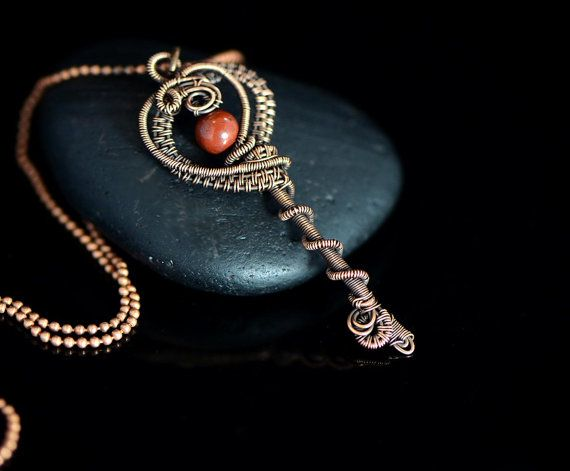 Wire wrapped heart key pendant copper wire jewelry red jasper gemstone pendant romantic gift 18th 21st birthday medieval ball key to heart