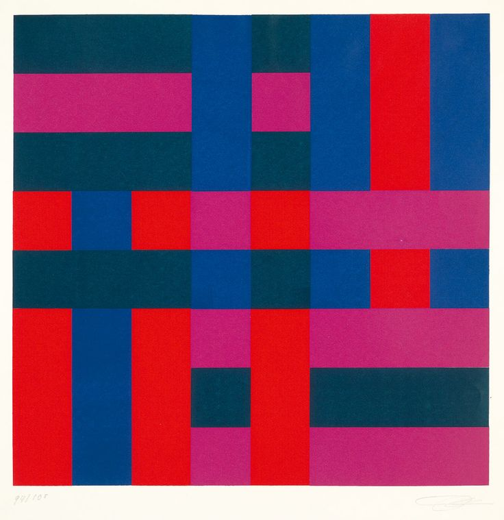 """"""" Richard-Paul Lohse Rhythm in Four Colors Color serigraph on vellum """""""