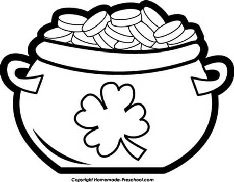 pot of gold coloring page - Coloring Pages Rainbow Pot Gold