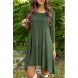 Casual Scoop Neck 3/4 Sleeve Solid Color Asymmetrical Women's Dress