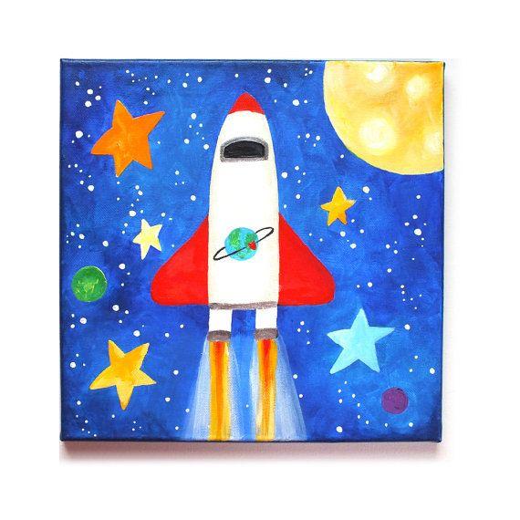 SPACE SHUTTLE Wall Art for Kids Rooms12x12 acrylic by nJoyArt