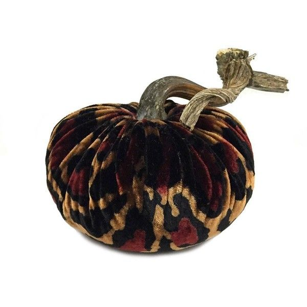 Plush Leopard Large Velvet Pumpkin ($70) ❤ liked on Polyvore featuring home, home decor, leopard home accessories, pumpkin home decor and leopard home decor