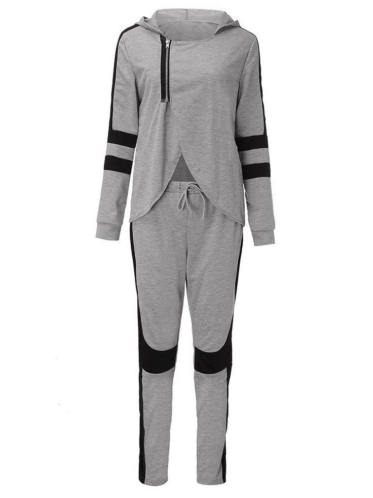Sexy Gray Black Patchwork Zipper Split Hood Women Tracksuit Sportsuit at Banggood