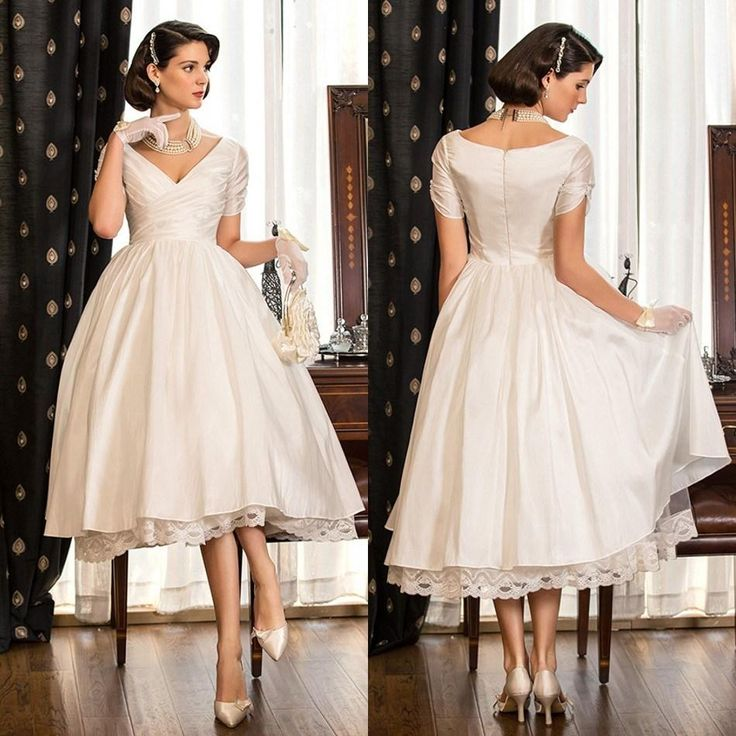 2015 Garden Hall V Neck A Line Plus Size Wedding Dresses Short Sleeves Tea Length Taffeta Little White Dress With Criss Cross Bodice Online with $85.75/Piece on Cinderelladress's Store   DHgate.com