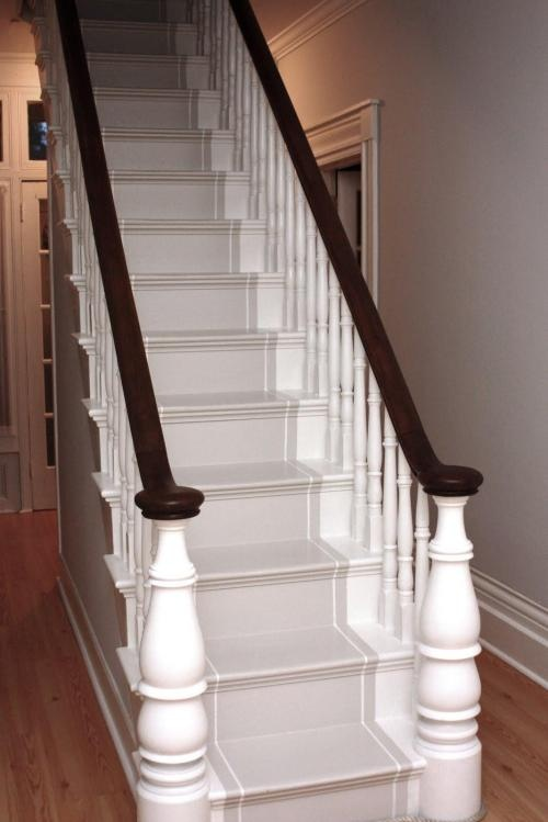 stairs, strip and paint and turned wood newel posts.