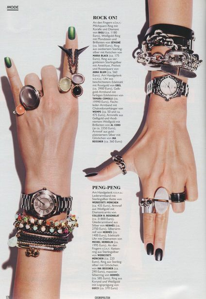 The 'Heavy metal' jewellery  shot by Schöttger for Cosmopolitan Magazine.