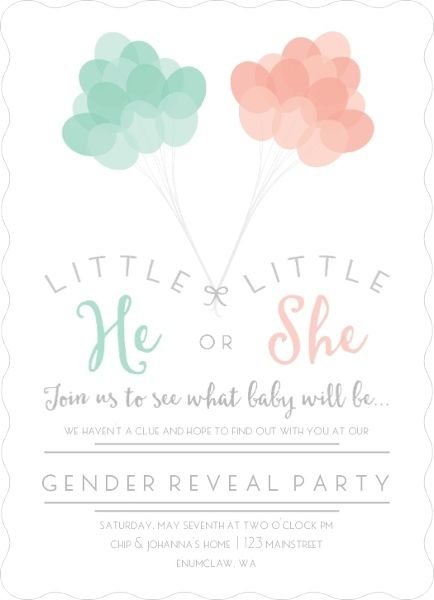 Mint and Peach Balloons Gender Reveal Party Invitation