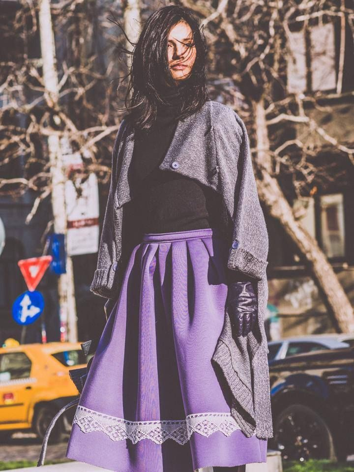 Neoprene Skirt, Purple Streetstyle, contemporary design, traditional design, unique, handmade embroidery.