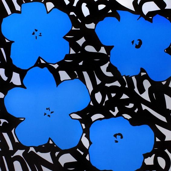 """FenX """"Blue"""" 120x120 cm, acrylique et aérosol sur toile"""