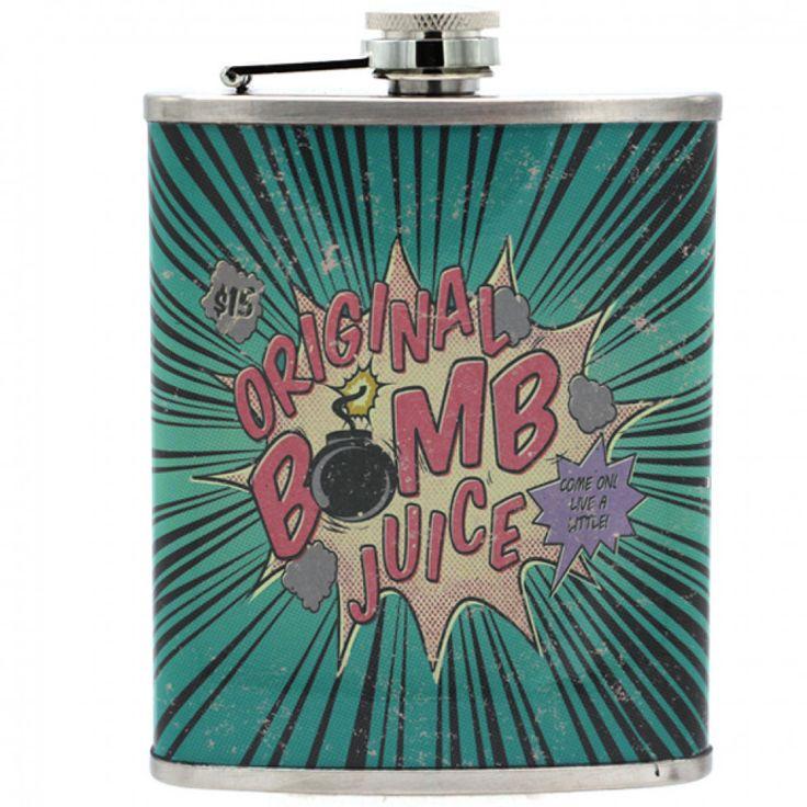 Flasque  BOMB JUICE amusant et pratique, fabriqué en acier inoxydable de très bonne qualité capacité de 250 ml.Vous pourrez y mettre l'alcool de votre choix.