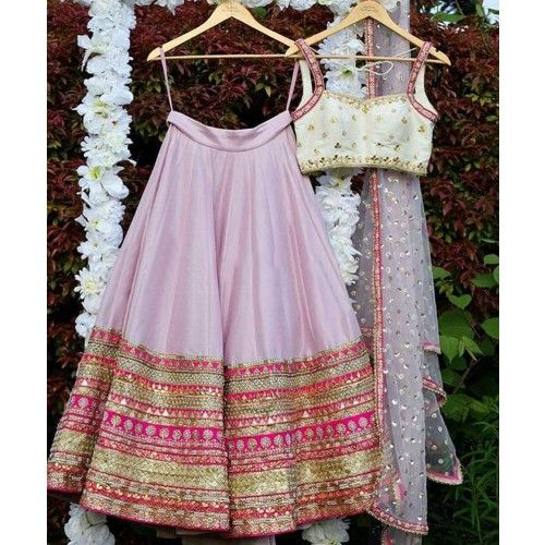 Rs.3190, Buy Online Ma Creation Paper Silk Pink Embroidered Semi Stitched Lehenga - Pbbb5 - Ma Creation - Reviews - Indiarush