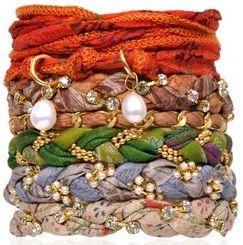 fab.com bracelet.  Braid fabric with chain, pearls or a broken necklace!  Add a clasp and you have a beautiful bracelet!