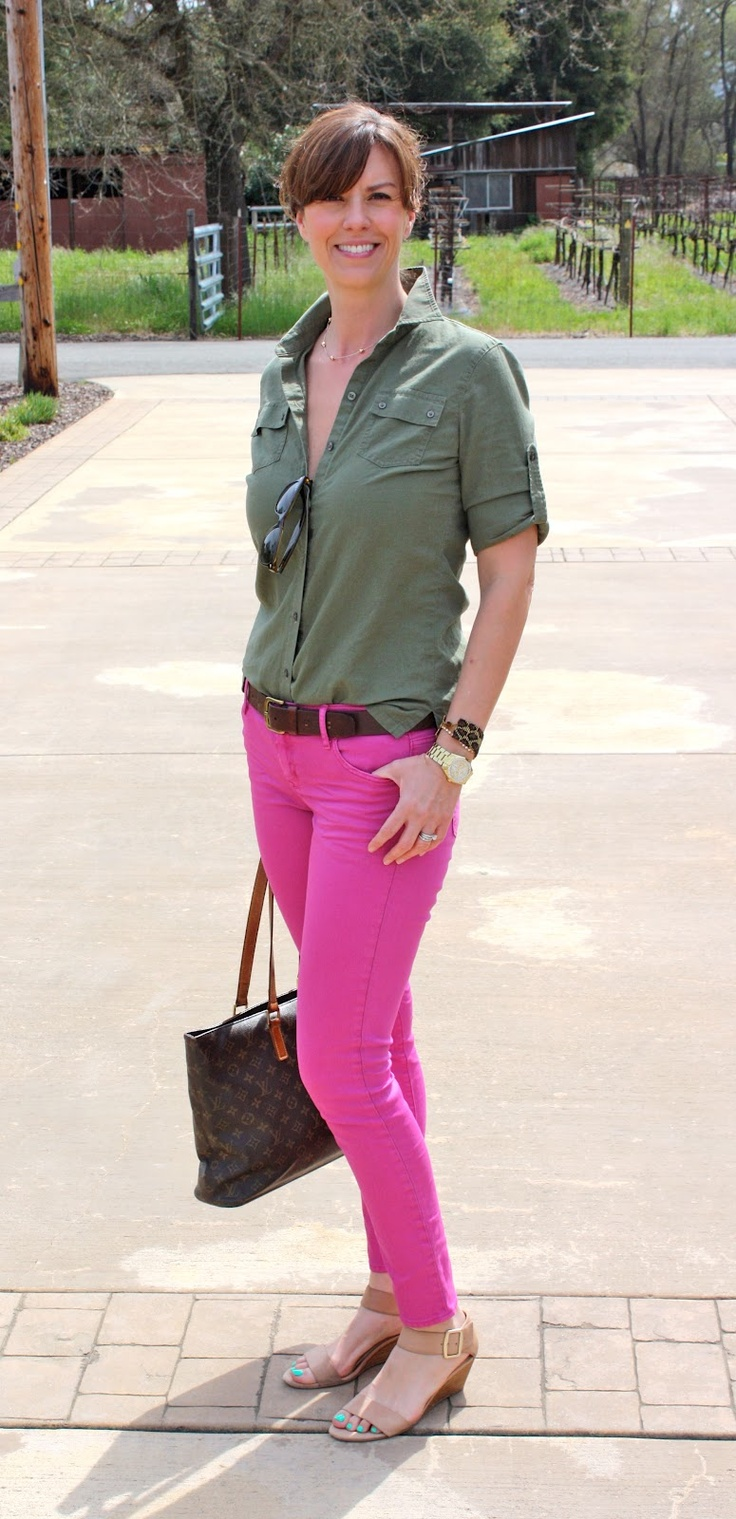 Olive Green Top Pink Crops...must Wear Pink Top With My New Olive Green Skinny Jeans! | My ...