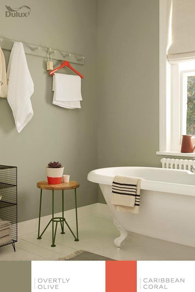 Dulux Overtly Olive Bedroom Ecosia In 2020 Green Bathroom Serene Bathroom Painting Bathroom