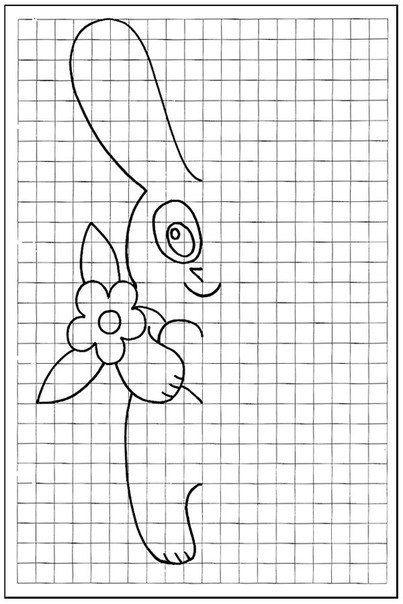 Teken de andere helft van het konijn