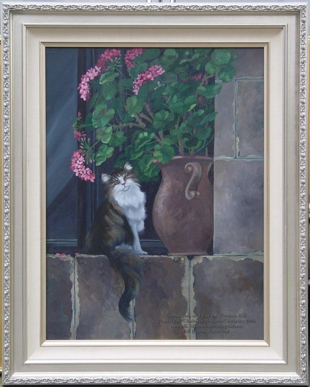 Paint Window Sill Interior: Geraniums And Cat On Window Sill By HouseofChabrier In
