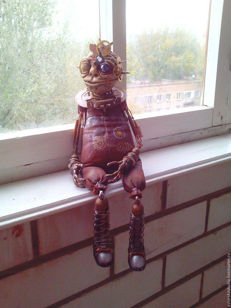 Купить Инопланетный странник. - коричневый, авторская кукла, робот, стимпанк, ручная работа, инопланетянин, Хэллоуин