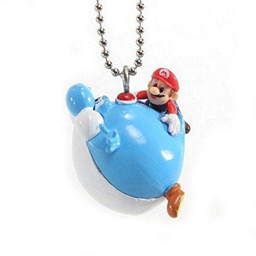 Super Mario Galaxy 2 Gashapon 1.5 Keychains - Mario on a floating Blue Yoshi @ niftywarehouse.com #NiftyWarehouse #Mario #SuperMario #Nintendo #VideoGames #Gaming #MarioBrothers