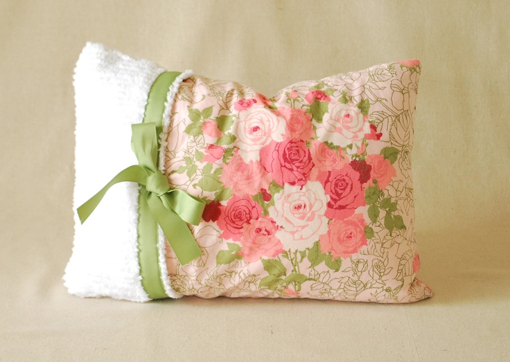 Ready to Ship! Shabby Chic Pillow Cover Chenille With Ribbon Vintage