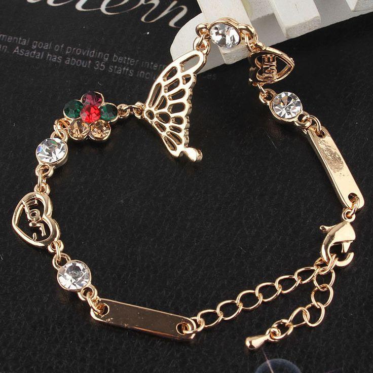 MenTing 925 Silver Double Heart Colorful Swarovski Elements Crystal Bangle Bracelet o1IPdlIDN