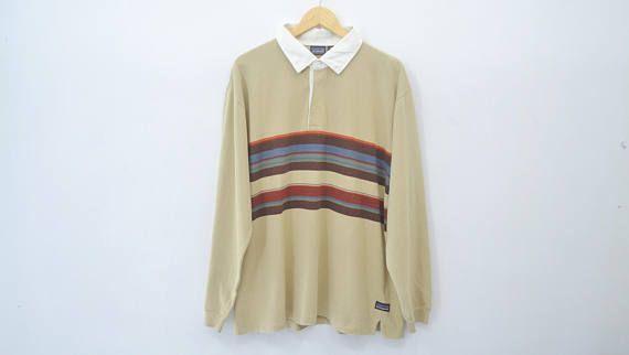 Patagonia Shirt Vintage Patagonia Stripes Long Sleeve Polo Tee Patagonia Shirts Vintage Outfits Striped Long Sleeve